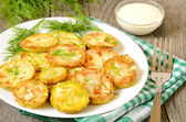 Fried zucchini with dill and garlic — Stock Photo