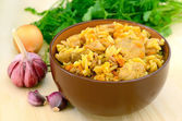 Pilaf in bowl on the table — Foto Stock