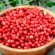 Stock Photo: Cowberries in brown bowl
