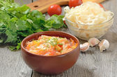 Sauerkraut soup in ceramic bowl — Stock Photo