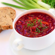 Stock Photo: Red borscht soup with dill