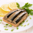 Stock Photo: Sprats sandwiches