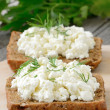 Sandwiches with curd cheese — Stock Photo