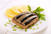 Sprats sandwiches  — Stock Photo