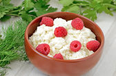 Fresh curd cheese in bowl — Stock Photo