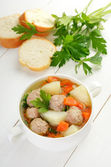 Meatball soup in white bowl  — Stock Photo