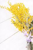Mimosa flowers on wooden table — Stockfoto