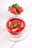 Tea with strawberries and mint  — Stok fotoğraf