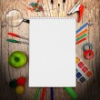 Back to school. On a wooden background. — Stock Photo #12884416