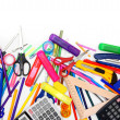 Stock Photo: School accessories on white background.