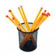 Pencils in a basket. On white background. — Stock Photo