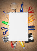 Back to school. School tools and notebook. — Stock Photo