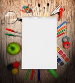 Back to school. On a wooden background. — Stock Photo