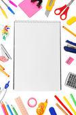Powrót do szkoły. artykuły papiernicze i notebooków. — Zdjęcie stockowe