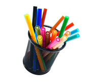 Felt-tip pens in a basket. — Foto de Stock