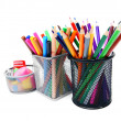 Pencils and felt-tip pens in baskets. - Stock Photo