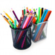 Pencils and felt-tip in baskets. - Stock Photo
