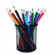 Stock Photo: Multi-coloured pencils in basket.