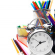 School accessories, books and alarm clock. — Stock Photo