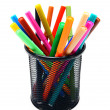 Felt-tip pens in a basket. On white. — Stock Photo