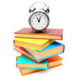 Alarm clock and books . On white. — Stock Photo #12899427