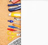 School accessories on rumpled paper. — Stock Photo