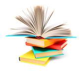 Multi-coloured books and open book. — Stock Photo