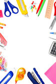 School accessories on white background. — Stock Photo