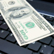 Stock Photo: Denomination (dollar) on laptop.