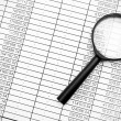 Magnifier and documents. Information search. — Stock Photo