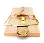 Coins in a mousetrap. — Stock Photo