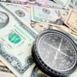 Stock Photo: Compass and is lot of money.