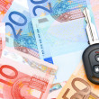 Keys from car on euro banknotes. - Stock Photo