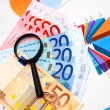 Magnifier and money (euro) on graphs. — Stock Photo
