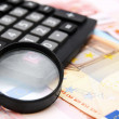 Royalty-Free Stock Photo: Magnifier and the calculator for euro banknotes.