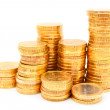 Heap of gold coins. On a white background. — Stock Photo #18989089