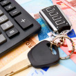 Stock Photo: Calculators and keys for euro banknotes.