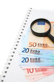 Magnifier and euro on a notebook. — Stock Photo