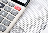 The calculator on documents. Accounts department. — Stockfoto