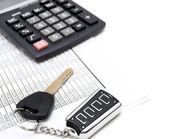 Calculator, keys from the car and documents. — Stock Photo