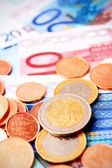 Coins for euro banknotes. — Stock Photo