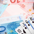 Poker, magnifier for euro banknotes. — Foto Stock #18992221