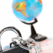 Lock, chain and the globe for euro banknotes. — Stock Photo