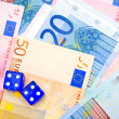 Dices for euro banknotes. — Stock Photo