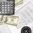Stock Photo: Calculators, money and compass on documents