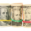 Portraits on dollars. On a white background. — Stock Photo