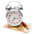 Alarm clock, pen and a pack of money. On a white background. — Foto de Stock