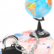 Lock, chain, globe and are a lot of money. — Stock Photo