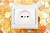Electric socket on gold coins. — Stock Photo
