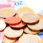 Coins for euro banknotes. — Stock Photo